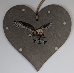 10cm Hanging Heart in Sophie Allport Night Owl